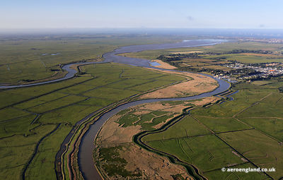 aerial photograph of the River Waveney Norfolk England UK