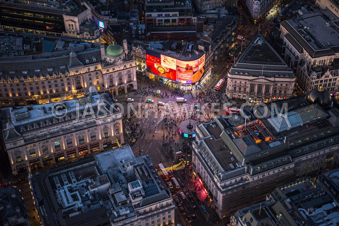 Aerial view of London at night time, Piccadilly and Regent Street towards Shaftesbury Avenue.