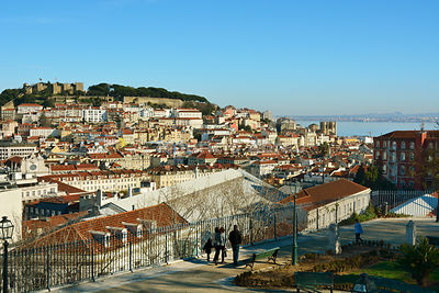 View from São Pedro de Alcântara belvedere, one of the best view points of the old city of Lisbon. Portugal