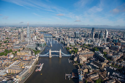 Aerial view of River Thames with Shard and Financial buildings