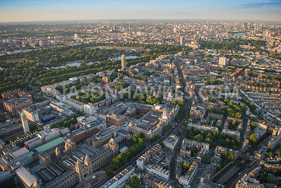 Aerial view of London, South Kensington with Cromwell Road towards Brompton Road.