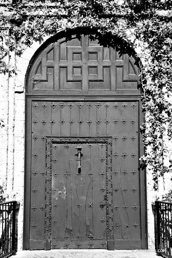 OLD DOOR PLYMOUTH CONGREGATIONAL CHURCH COCONOUT GROVE MIAMI FLORIDA BLACK AND WHITE