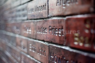 Closeups of Names on the Cavern Wall of Fame in Mathew Street Liverpool