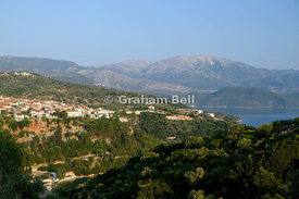 Spartochori and rhe mountains of Lefkas, Meganisi, Ionian Islands, Greece.