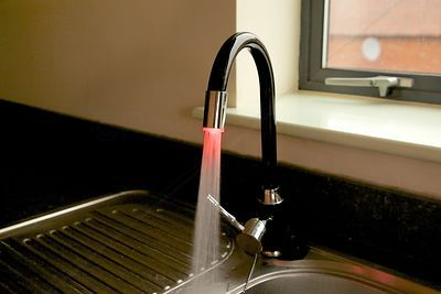 Black Monoblock Kitchen Tap with Coloured LED Lighting