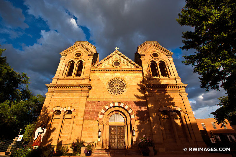 SUNSET CATHEDRAL BASILICA OF ST. FRANCIS OF ASSISI SANTA FE NEW MEXICO ARCHITECTURE COLOR