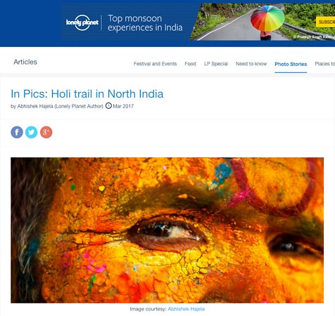 Holi trail in North India; Lonely Planet March 2017 photos
