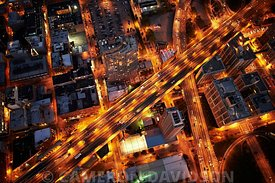 Aerial of traffic and roads in New York City at night.