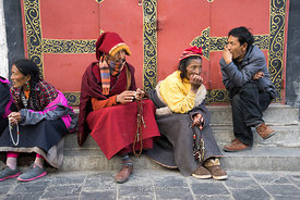 People on a street in Lhasa, Tibet