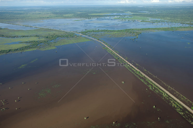 Aerial view of road to the North of the Beni Department of Bolivia isolated by the waters of Mamoré River during the great flood of 2008, Beni Department, Eastern Bolivia.