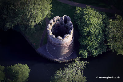 aerial photograph of the Cow Tower Norwich , Norfolk, England UK.