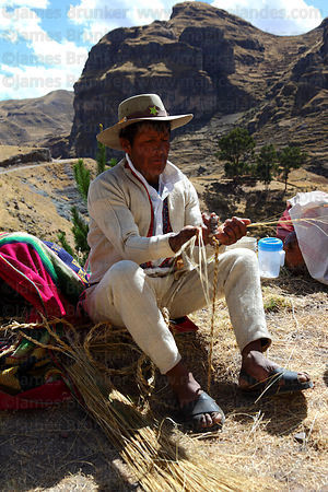 Man weaving new ropes from grass to rebuild the bridge , Q'eswachaka , Canas province , Peru