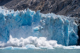 Ice calving off at Dawes Glacier, Endicott Arm, Southeast Alaska.  Sequence 4 of 11.