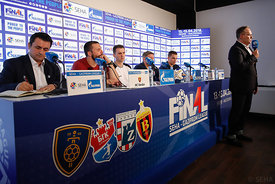 Stojance Stoilov, Raul Gonzales,Sergey Bebeshho and Vid Poteko at the opening press conference during the Final Tournament - Final Four - SEHA - Gazprom league, Skopje, 12.04.2018, Mandatory Credit ©SEHA/ Uros Hocevar