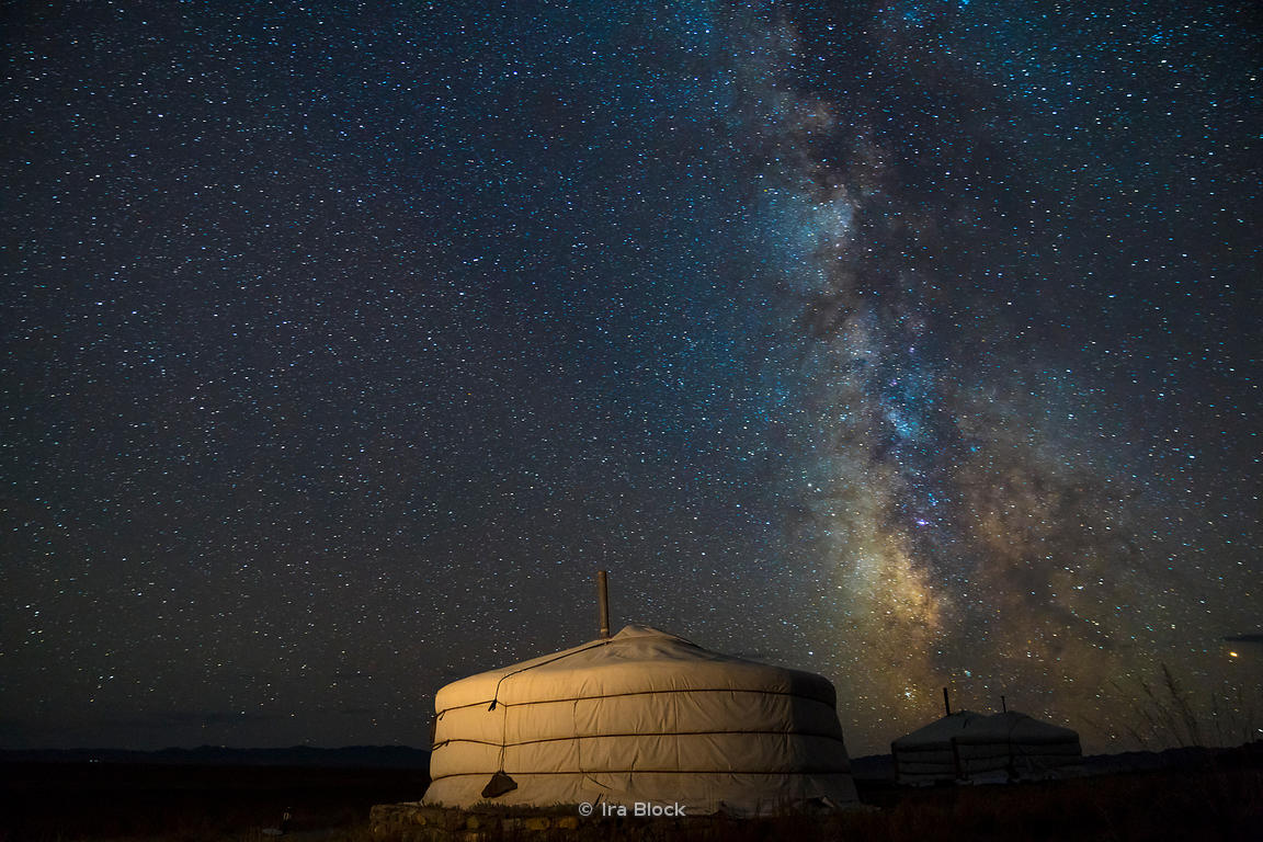 The Milky Way rises over a Mongolian ger in the South Gobi Desert, Mongolia.