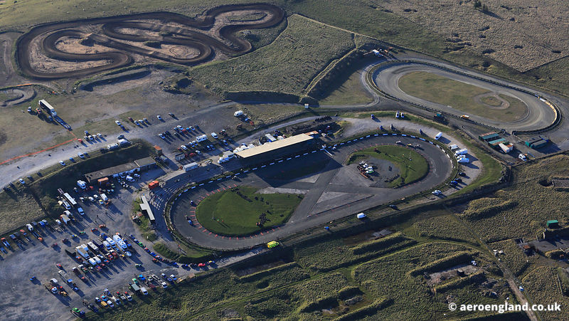 aerial photograph of  Buxton Raceway Derbyshire England UK