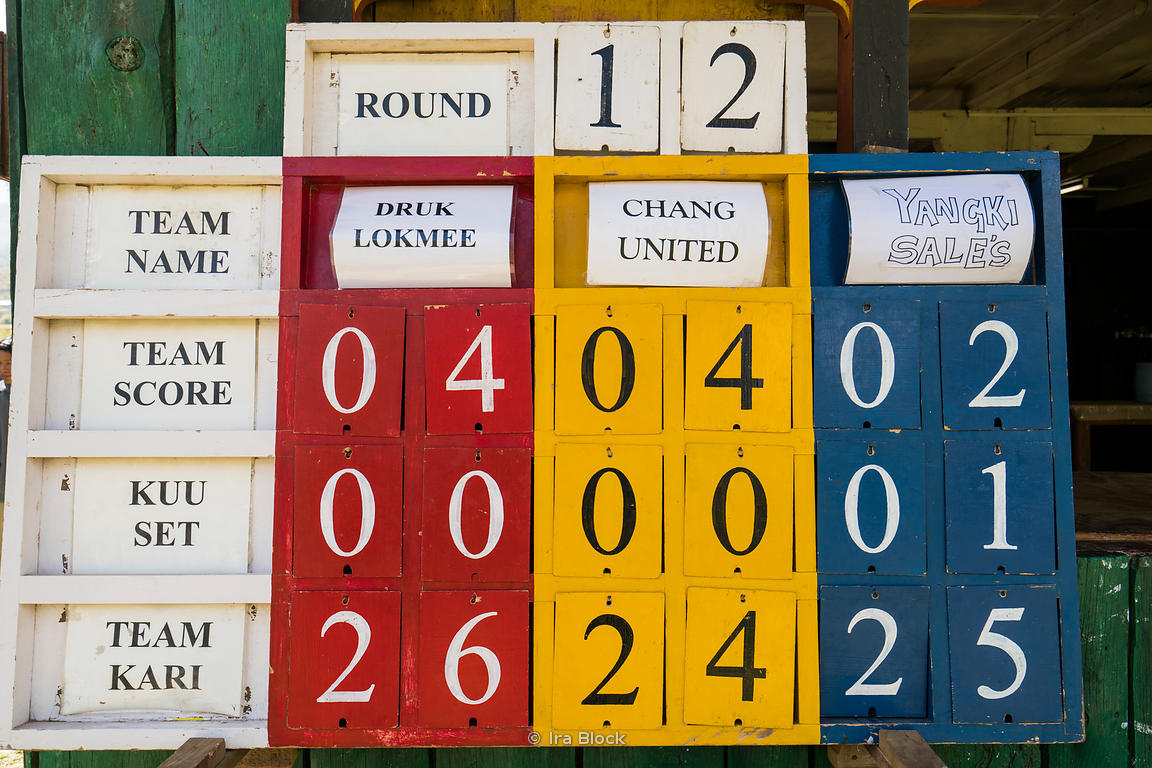 A scoreboard at an archery contest in Paro, Bhutan.