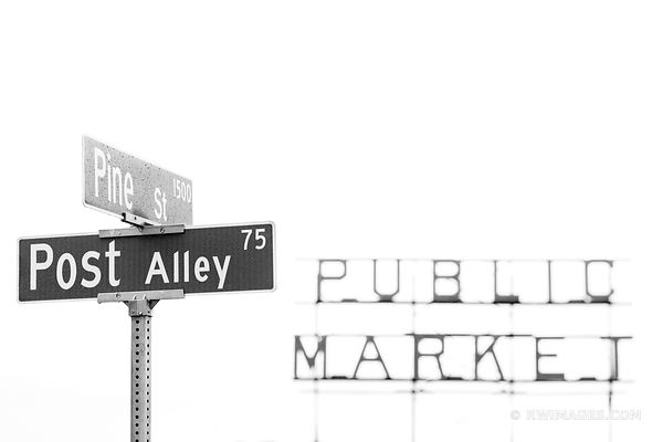PUBLIC MARKET POST ALLEY PINE ST SIGN SEATTLE BLACK AND WHITE