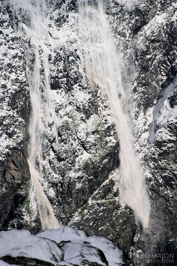 Avalanche on a steep rock face