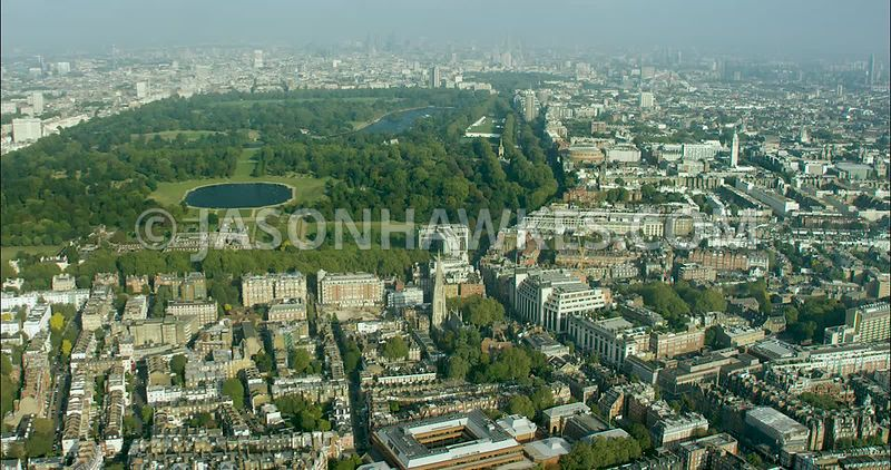 London Aerial Footage of Kensington Gardens