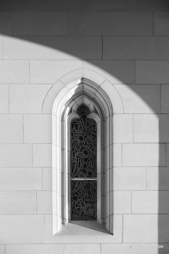 CHURCH WINDOW WITH STAINED GLASS WASHINGTON NATIONAL CATHEDRAL ARCHITECTURE WASHINGTON DC BLACK AND WHITE VERTICAL
