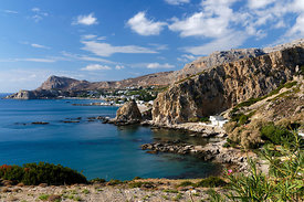 View looking towards Stegna from the North, Stegna, Archangelos, Rhodes, Dodecanese Islands, Greece.