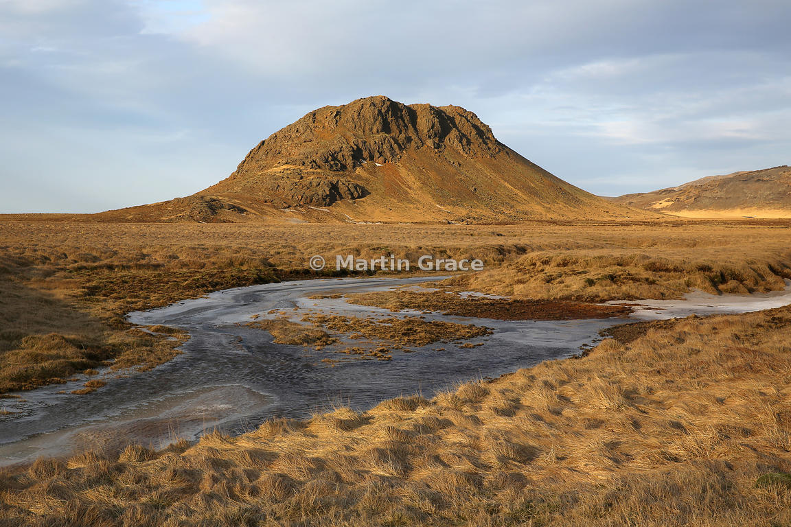 Volcanic cone in Reykjanesfolkvangur Public Recreation Area or Country Park in winter