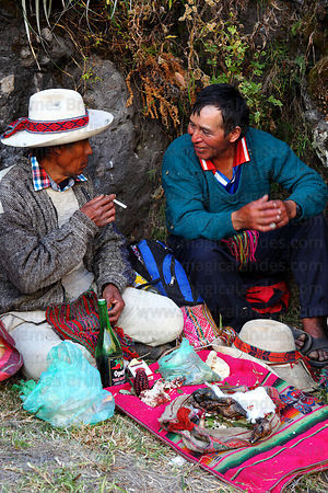 Shamans at start of rituals to Pachamama (Mother Earth) before the rebuilding the bridge, Q'eswachaka , Canas province , Peru