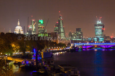 London's Famous Lights by night on The Embankment of the River Thames