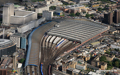 aerial photograph of Waterloo Station London England UK