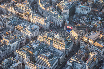 Aerial view over Piccadilly Circus, Piccadilly, London . Jermyn Street, London Pavilion,
