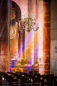 Rays of light inside Issoire abbey church