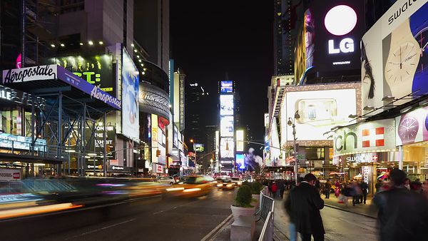 Wide Shot: Time's Square Traffic & Lights