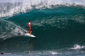 Damien Hobgood in a standup barrel at Pipeline