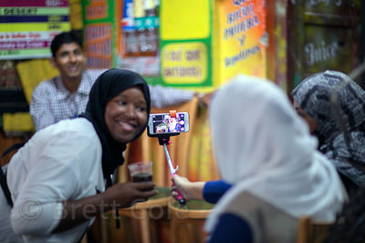 Indonesian tourists take selfies in Pushkar, Rajasthan, India