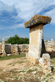 Standing stone or Taula and Taula enclosure from the post Talayotic period 550-123 BC, Trepuco, one of many prehistoric site on the Island of Menorca, Spain.