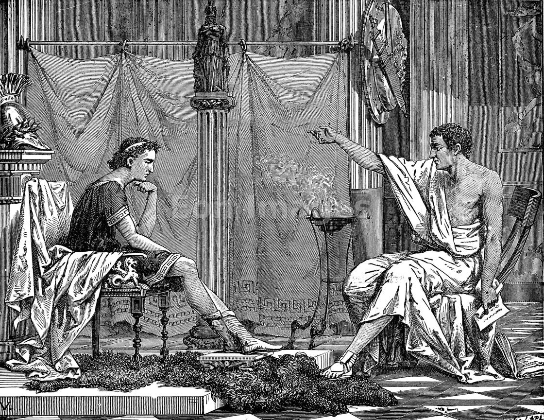 Aristotle with pupil Alexander the Great