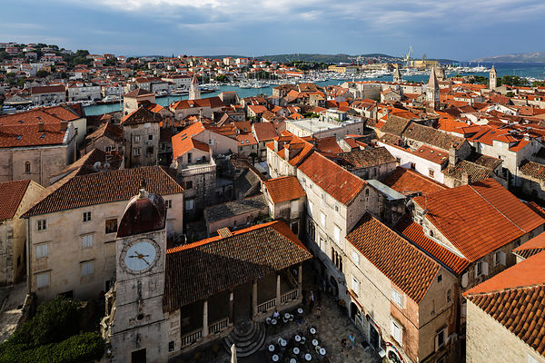 Elevated View of the Town of Trogir from the Cathedral Bell Tower