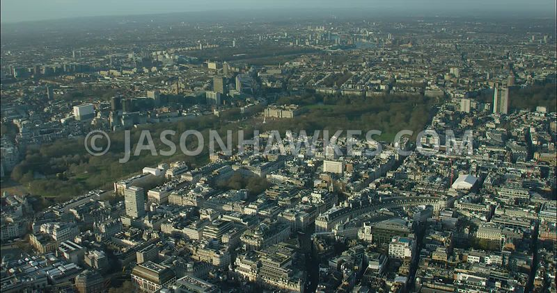 London Aerial Footage Piccadilly from Piccadilly Circus to Green Park.