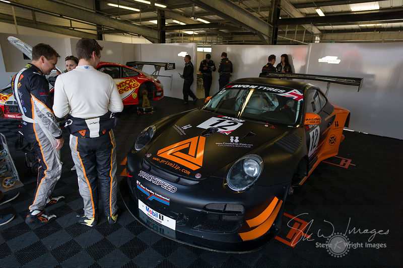 Trackspeed Porsche 997 GT3 R in the pits, pre-race, at the Silverstone 500 - the third round of the British GT Championship 2014 - 1st June 2014