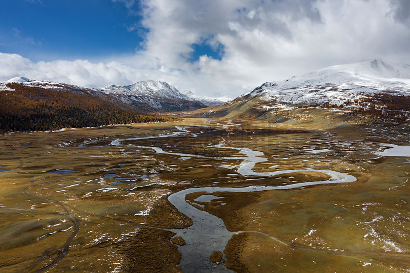 Aerial View of a River in Altai National Park