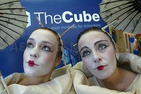 At the launch of a business incubation centre called The Cube at Galway Technology Centre were Macnas performers Laura O'Flynn and Triona Lillis..Photo by Aengus McMahon