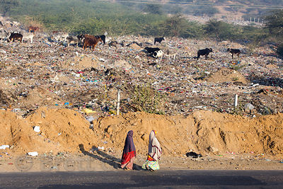 Ladies walk past the Pushkar municipal dumping ground (landfill), Pushkar, Rajasthan, India