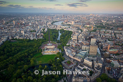 Aerial view over Buckingham Palace and Victoria, London
