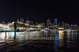 May 8th 2015, Cruise ship at Canada place pier next to the Vancouver Convention Center at night from a boat cruise on Sunset Bay II. Photo by Scott Brammer - coastphoto.com