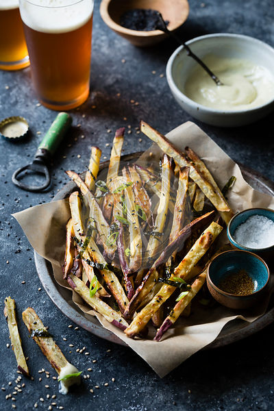 Japanese sweet potato fries and wasabi aioli