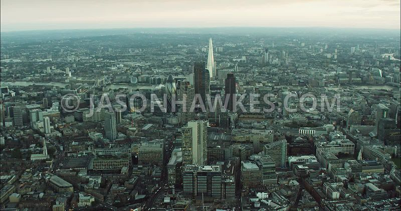 London Aerial Footage City of London with financial district.