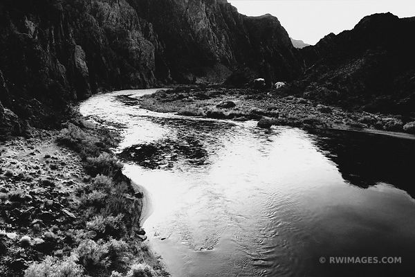 COLORADO RIVER NIGHT SOUTH KAIBAB TRAIL GRAND CANYON ARIZONA BLACK AND WHITE