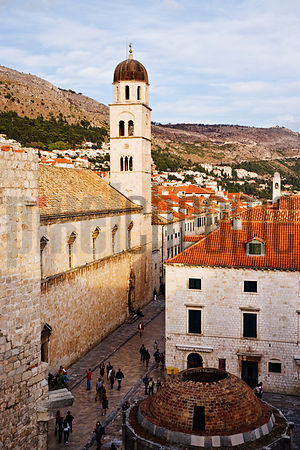 Dubrovnik's Main Street Stradun or Placa, St Saviour's Church and Onofrio's Large Fountain of 1444, Croatia