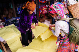 Hmong Woman Buying Fabric
